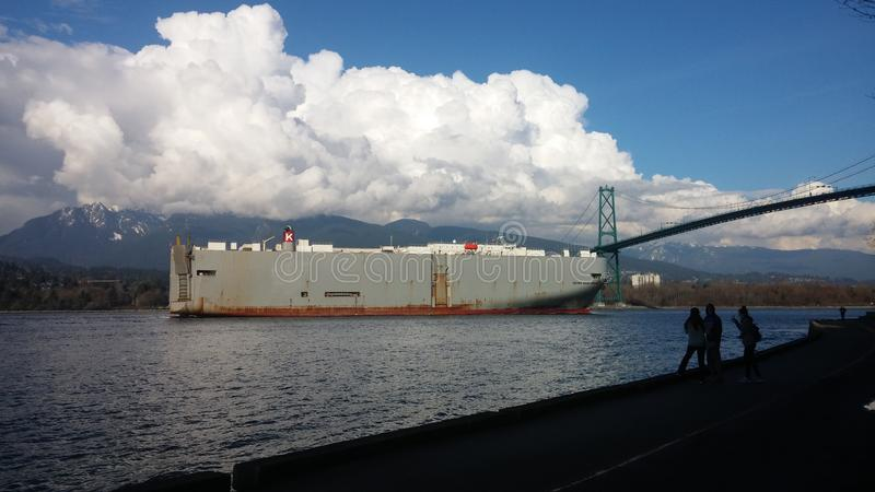 Commercial industrial ship near Lions Gate Bridge near Vancouver stock image