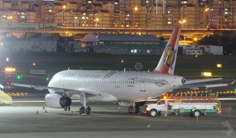 Commercial jet on apron stock image