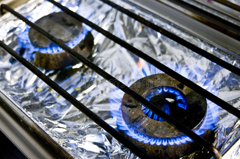 Commercial Kitchen Gas Burners Stock Images
