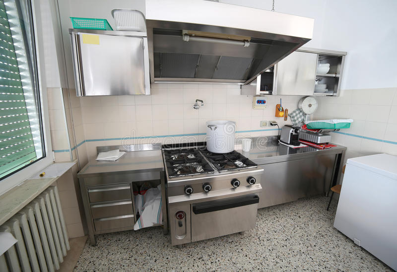 Commercial Kitchen With Oven In Steel Stainless And A Big Pot Stock ...