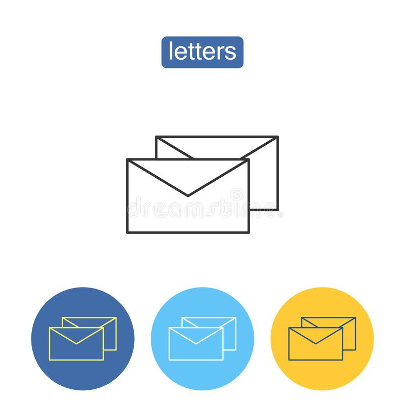 Commercial mailing outline icons set. Business correspondence sign for mobile application. Mail envelopes vector illustration isolated on white background royalty free illustration