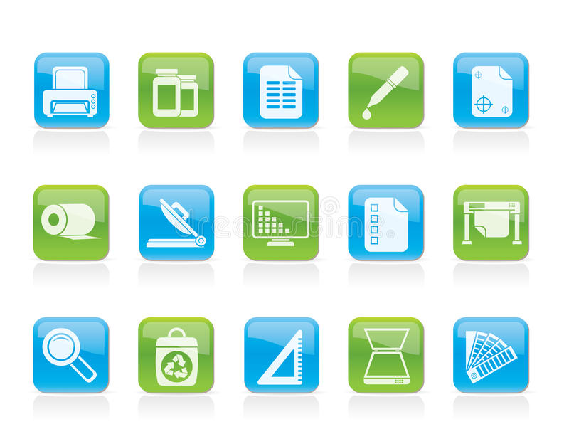 Download Commercial print icons stock vector. Image of symbol - 22230542