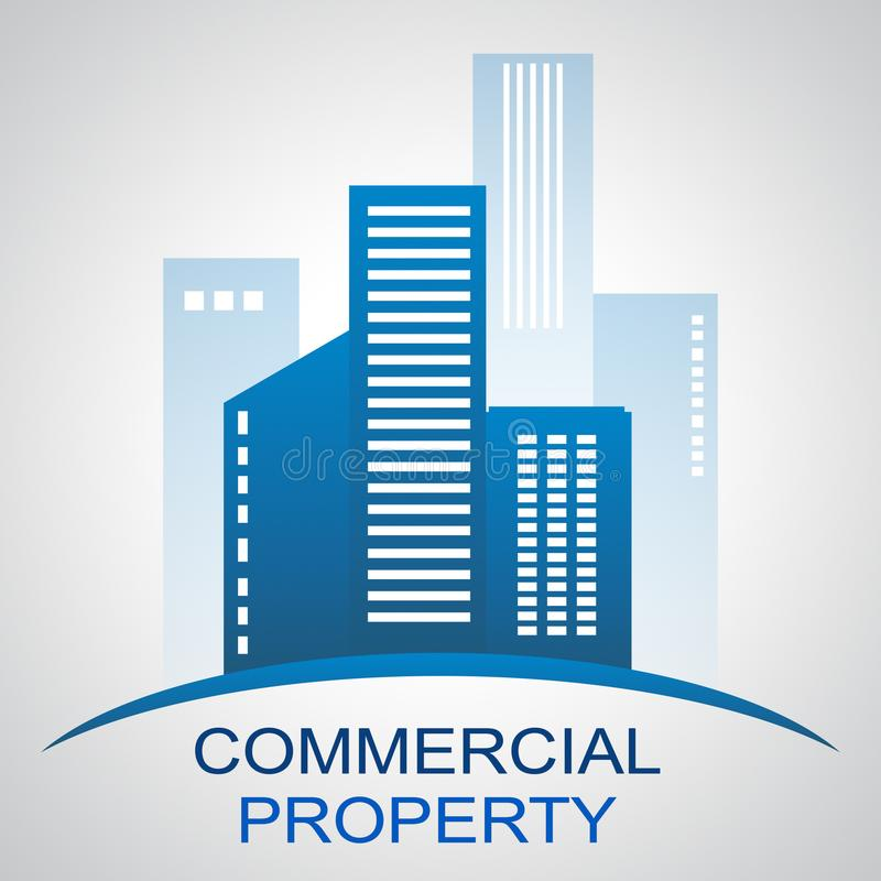 Commercial Property Describing Buildings Real Estate 3d Illustration stock illustration