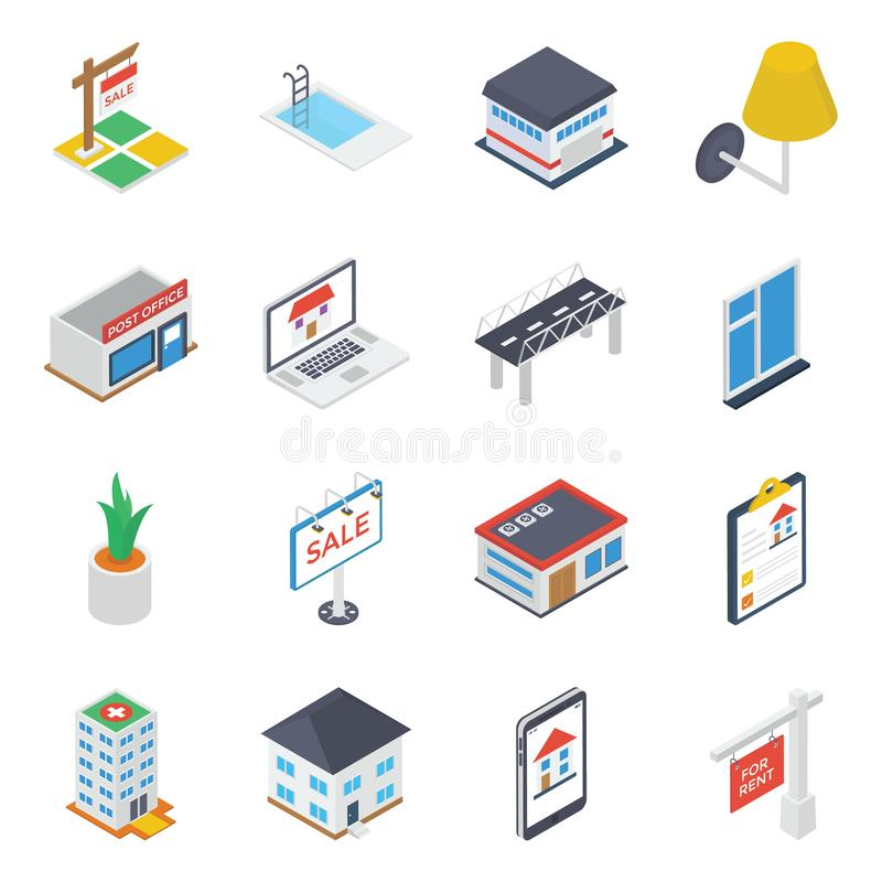 Commercial Property and Equipment Icons royalty free illustration