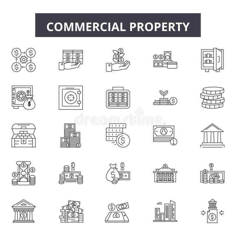 Commercial property line icons, signs, vector set, outline illustration concept royalty free illustration
