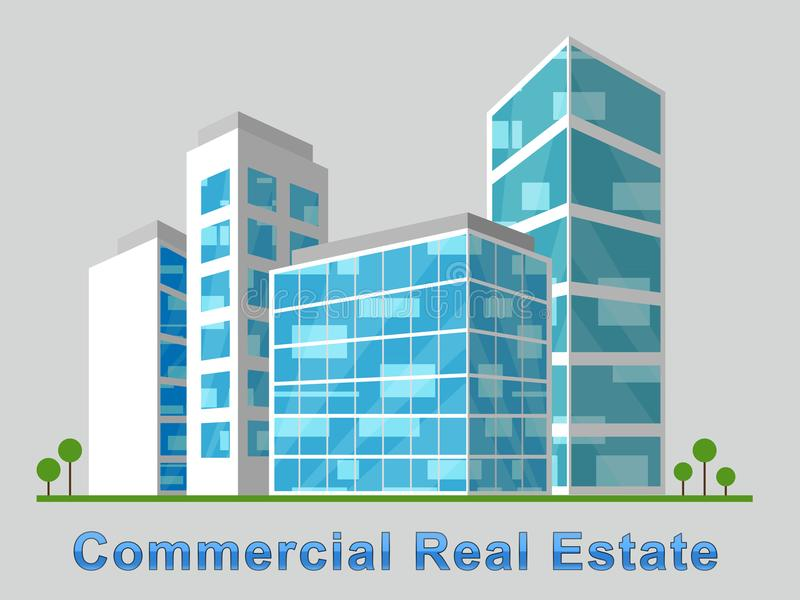 Commercial Real Estate Downtown Represents Properties 3d Illustration royalty free illustration