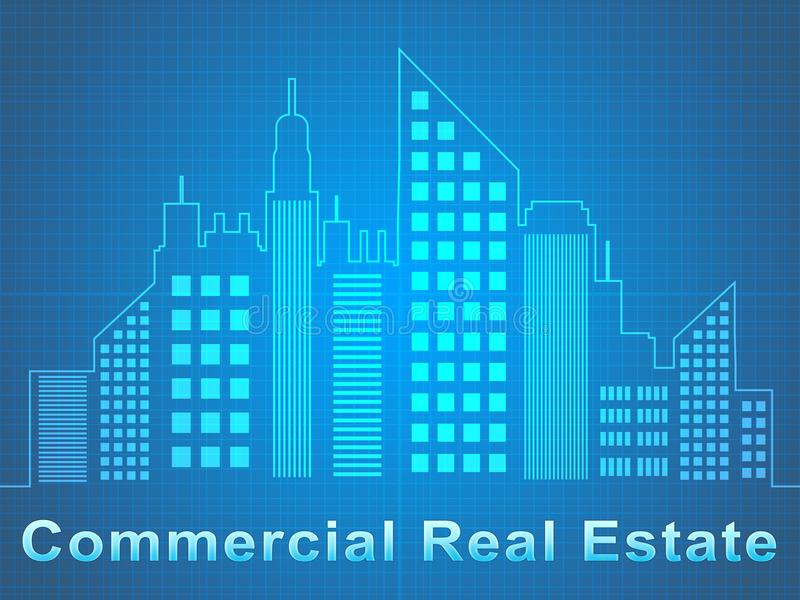 Commercial Real Estate Represents Offices Sale 3d Illustration royalty free illustration