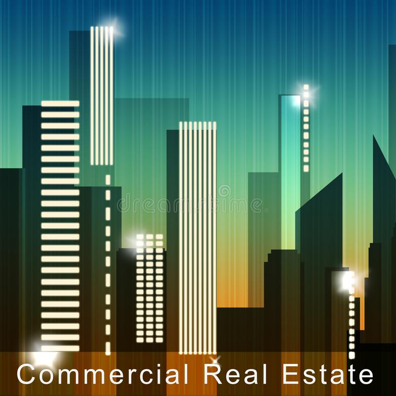 Commercial Real Estate Means Property Sale 3d Illustration stock illustration