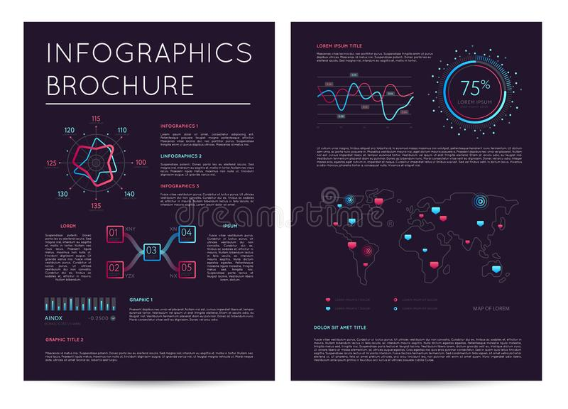 Commercial report with various infographics vector illustration