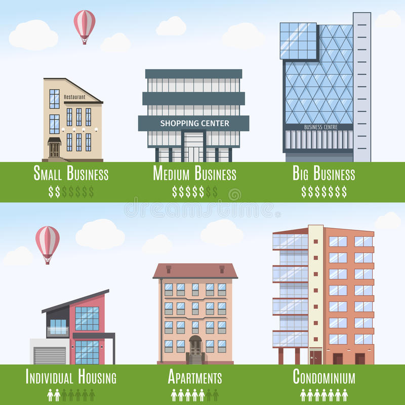 Commercial and Residential Real Estate Infographics, set of 6 buildings. Vector illustration stock illustration