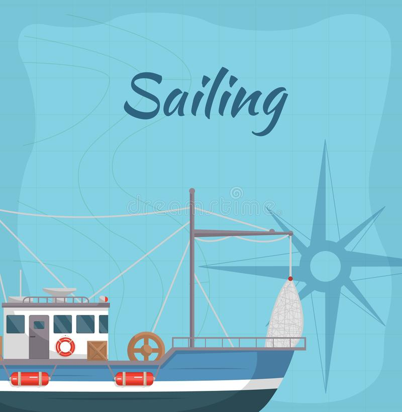Commercial sailing poster with sea ship vector illustration
