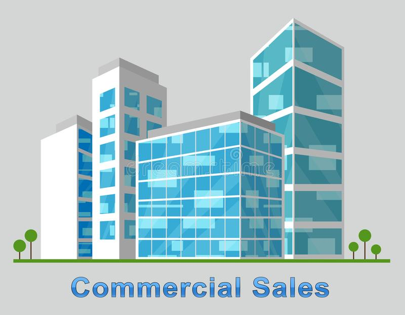 Commercial Sales Downtown Describes Real Estate 3d Illustration royalty free illustration
