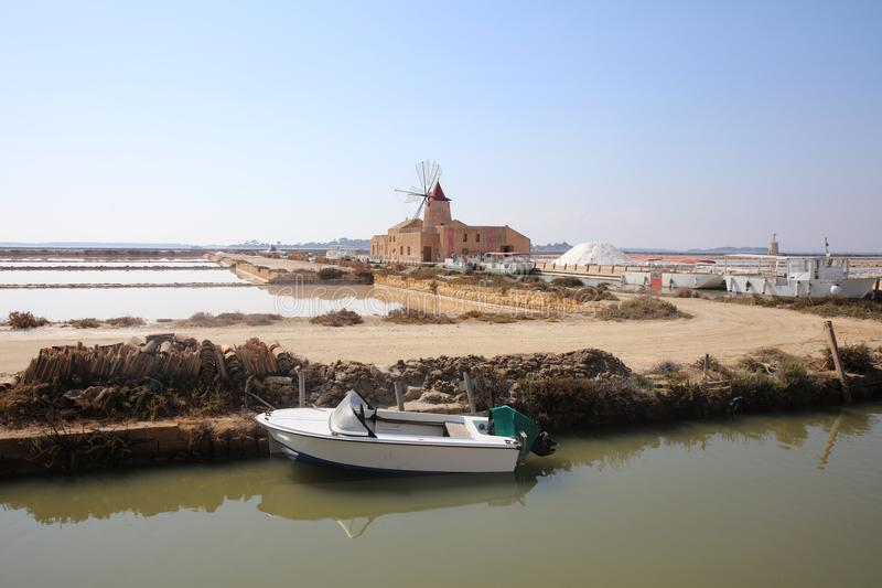Commercial Salt Experience in Marsala on Sicily. Italy stock image