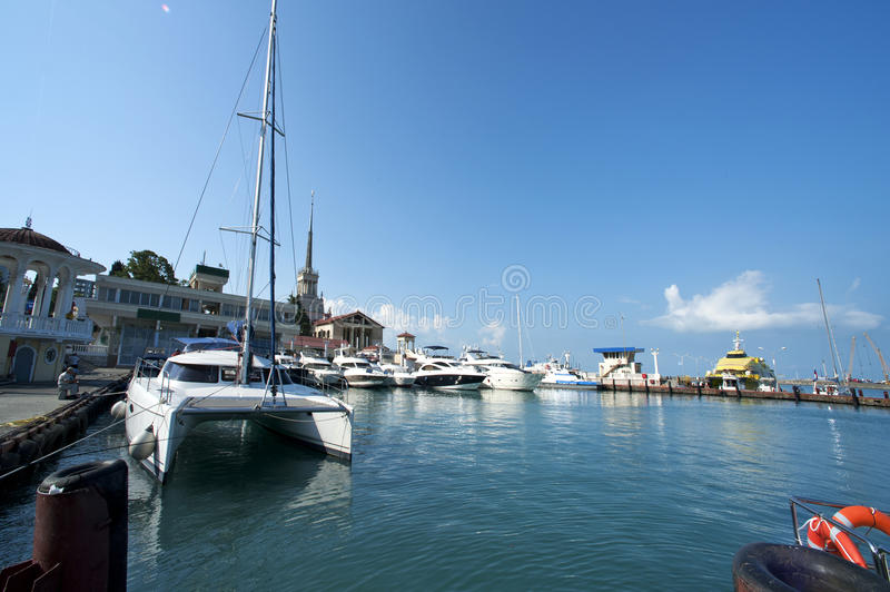 Commercial Sea Port Of Sochi Stock Images
