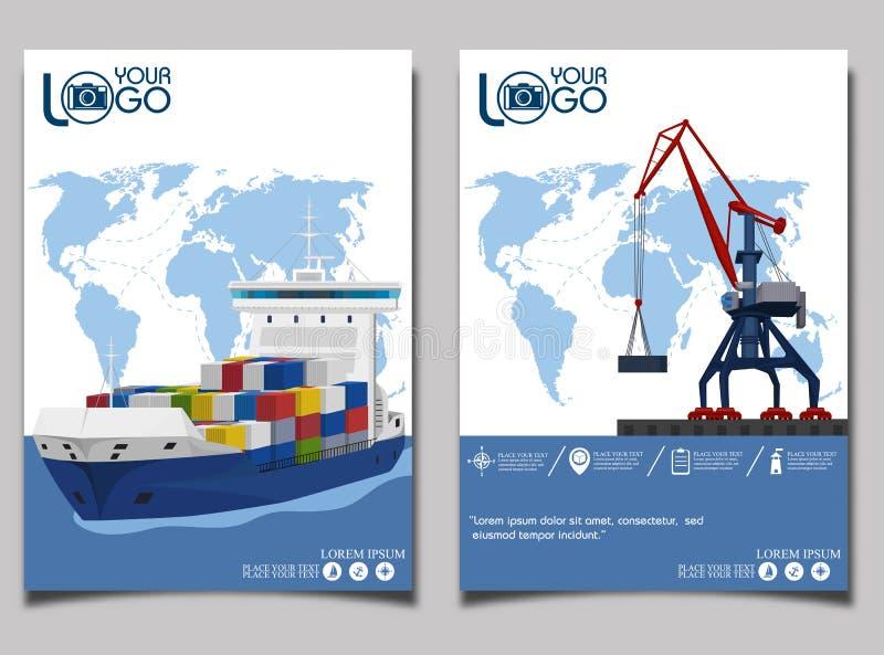 Commercial sea shipping banner set stock illustration