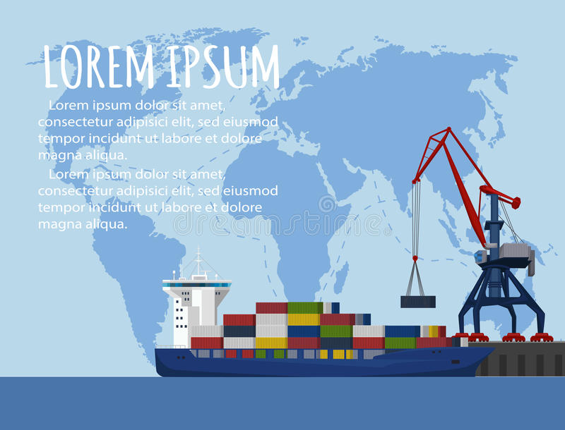 Commercial Sea Shipping Banner Template Stock Vector - Illustration ...