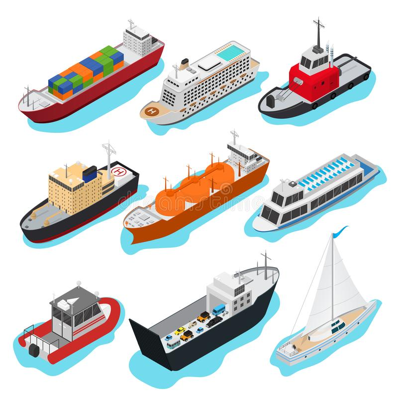 Free Commercial Sea Ships Signs 3d Icon Set Isometric View. Vector Royalty Free Stock Image - 126530936