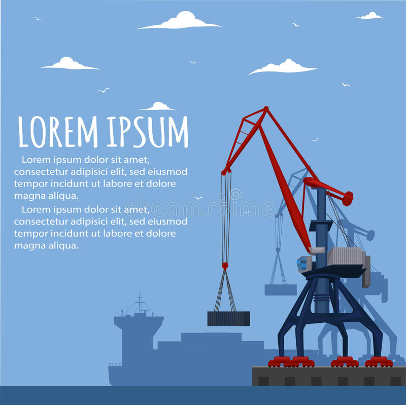 Commercial seaport banner with port crane stock illustration