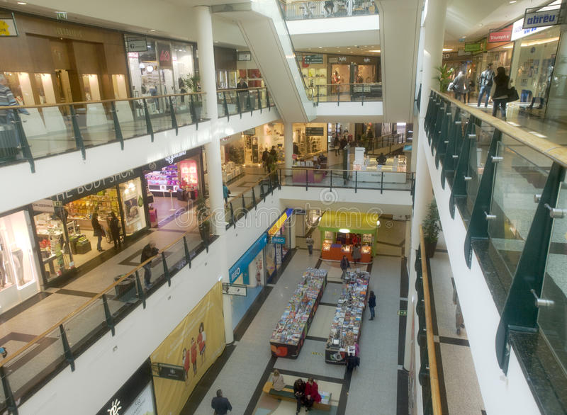Commercial shopping center interior view stock images