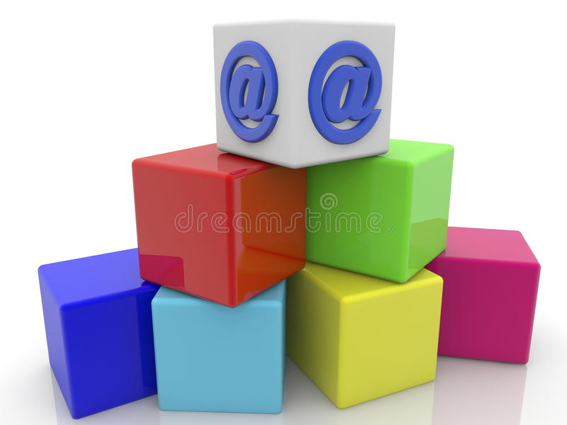Commercial sign at on the top of toy cubes. In backgrounds vector illustration