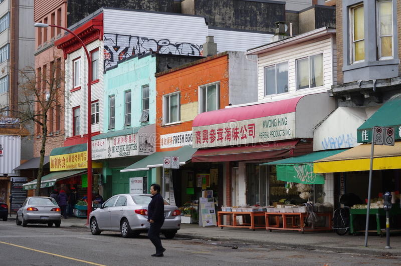 Commercial street of Vancouver's Chinatown royalty free stock photo