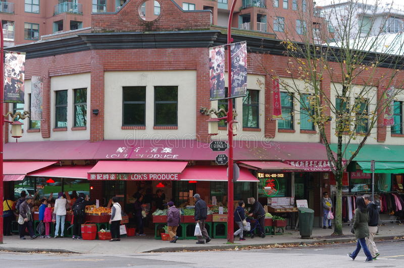 Commercial street of Vancouver's Chinatown stock photos