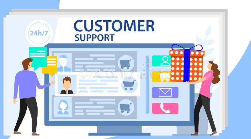 Commercial support for customer transaction on website. Customer review. Commerce or marketing concept with characters vector illustration
