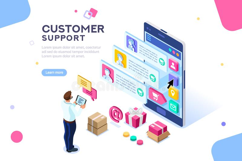 Commercial Customer Support Editable Template Website. Commercial support for customer transaction on website. Consumer at website, buyer at electronic dashboard stock illustration