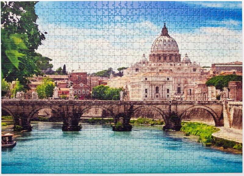 Rome Saint Angel Bridge assembled puzzle image royalty free stock photo
