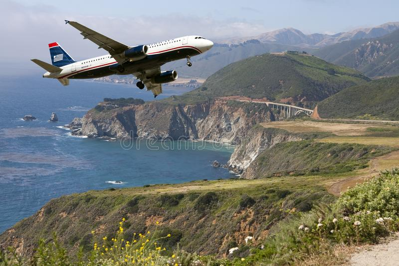 Commercial Travel Passenger Jet Plane Landing. Commercial airline passenger jet approaches airport for landing stock image