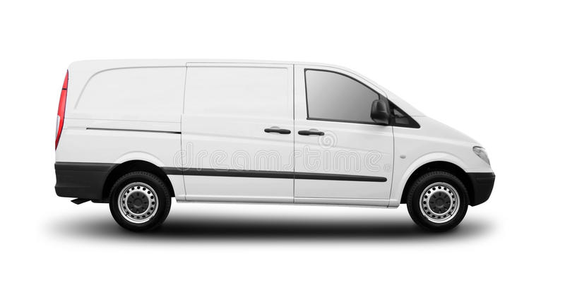 Commercial van. Photo of commercial van isolated on white background royalty free stock images