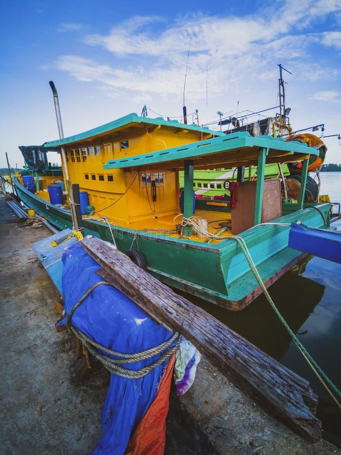 Commercial wooden fishing trawler in Kuala Terengganu, Malaysia stock photography