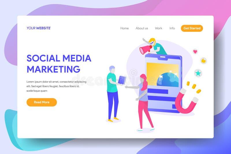 Commercialisation sociale de medias illustration stock