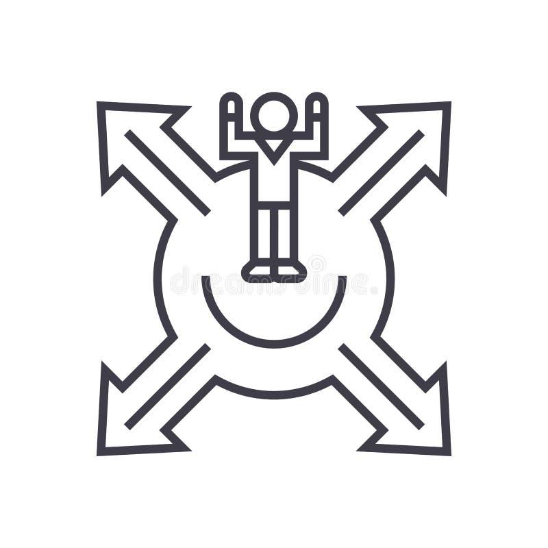 Commercializzi il posizionamento, uomo con la linea trasversale l'icona, il segno, illustrazione di vettore delle frecce su fondo royalty illustrazione gratis