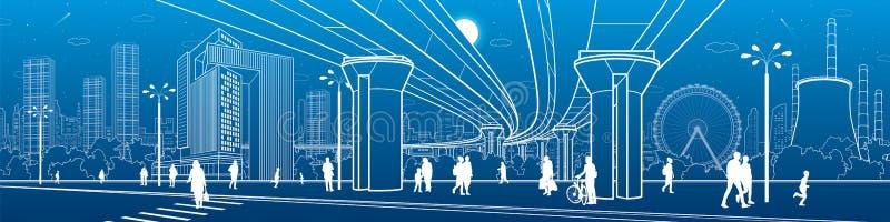 Commercieel Centrum, het panorama van de stadsarchitectuur Mensen die bij stadsstraat lopen Wegzebrapad Wegbrug, viaduct Ferris W stock illustratie