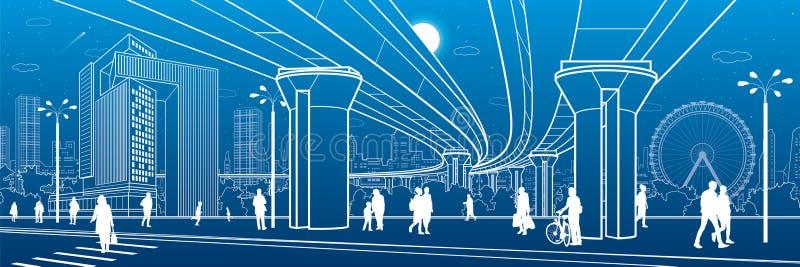 Commercieel Centrum, het panorama van de stadsarchitectuur Mensen die bij stadsstraat lopen Wegzebrapad Wegbrug, viaduct Ferris W vector illustratie