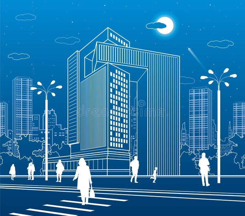 Commercieel Centrum, stadsarchitectuur Mensen die bij stadsstraat lopen Wegzebrapad Het stedelijke leven Vectorontwerpart. vector illustratie