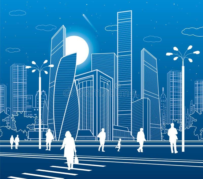 Commercieel Centrum, stadsarchitectuur Mensen die bij stadsstraat lopen Wegzebrapad Het stedelijke leven Vectorontwerpart. royalty-vrije illustratie