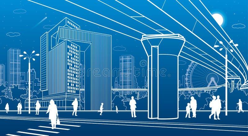 Commercieel Centrum, stadsarchitectuur Mensen die bij stadsstraat lopen Wegzebrapad Wegbrug, viaduct Het stedelijke leven Vector  vector illustratie