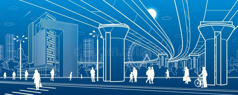 Commercieel Centrum, stadsarchitectuur Mensen die bij stadsstraat lopen Wegzebrapad Wegbrug, viaduct Het stedelijke leven Vector  royalty-vrije illustratie