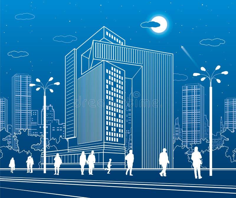 Commercieel Centrum, stedelijke architectuur Mensen die bij stadsstraat lopen Vectorontwerpart. royalty-vrije illustratie