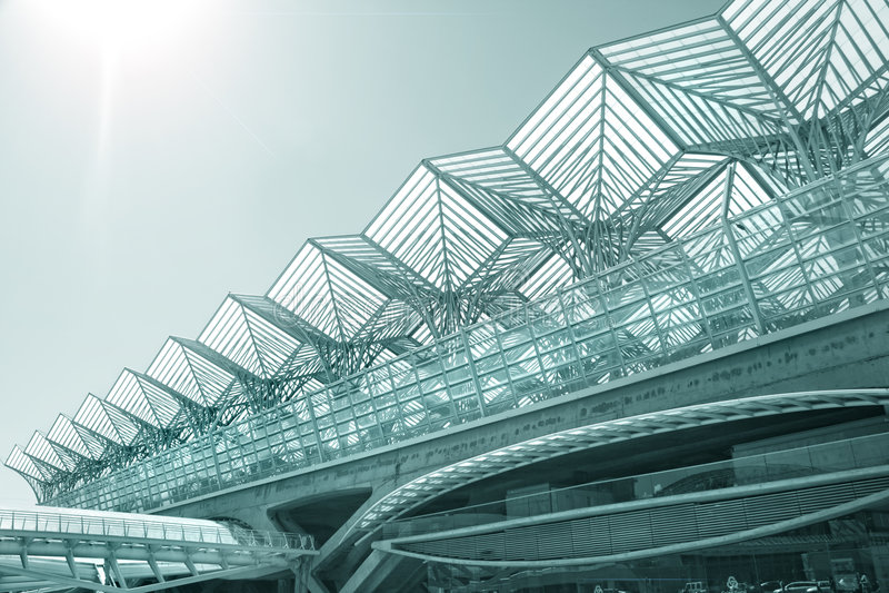 Commercieel centrum van de moderne architectuurbouw stock afbeeldingen