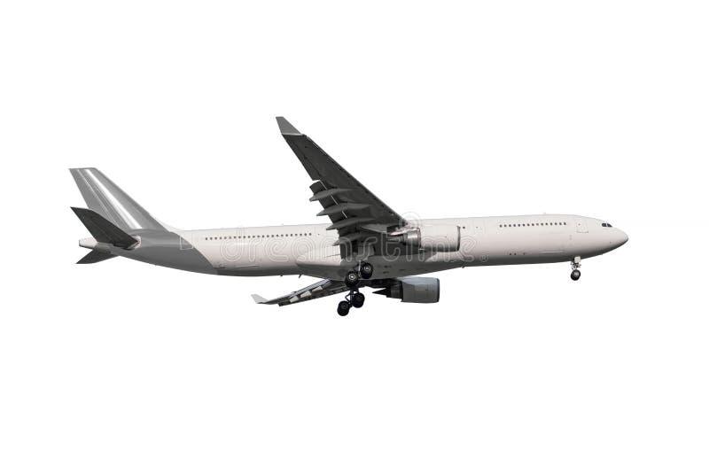 Commercieel die vliegtuig op witte achtergrond met het knippen van p wordt geïsoleerd stock foto