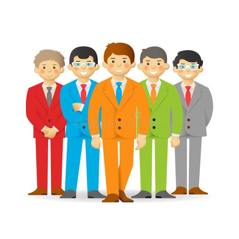 Commercieel team, brutale beeldverhaalmensen in kostuums vector illustratie