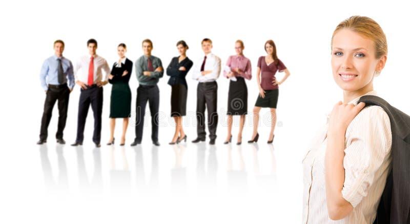 Commercieel team, dat op wit wordt geïsoleerdn royalty-vrije stock afbeeldingen