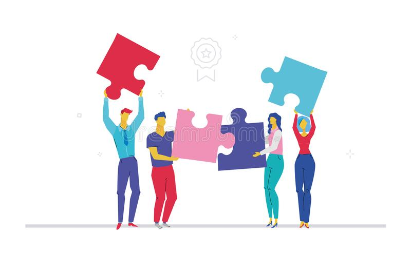 Commercieel team die een raadsel doen - de vlakke kleurrijke illustratie van de ontwerpstijl stock illustratie