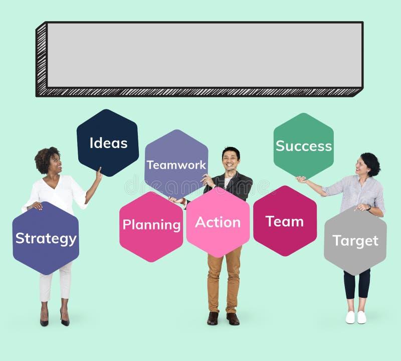 Commercieel team die en actie plannen voeren stock illustratie