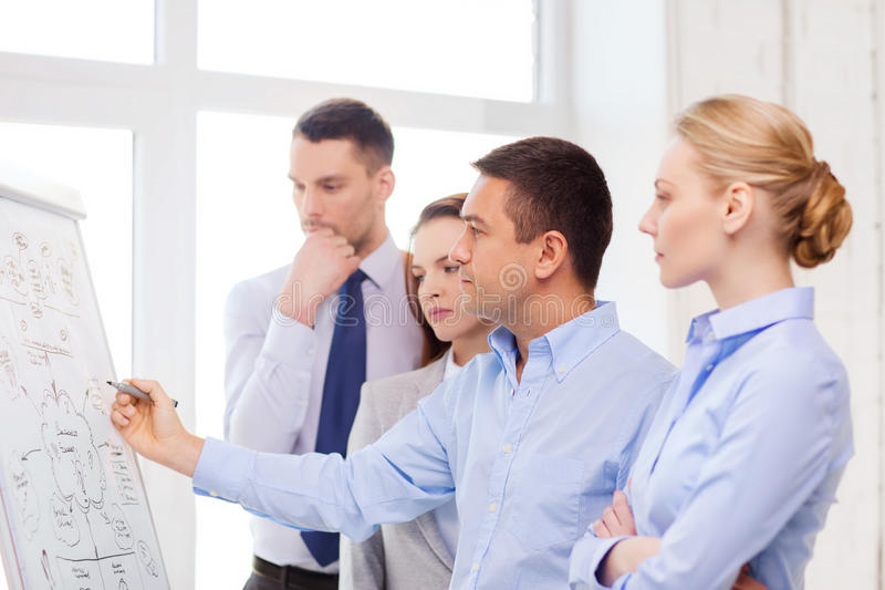 Commercieel team die iets in bureau bespreken stock foto