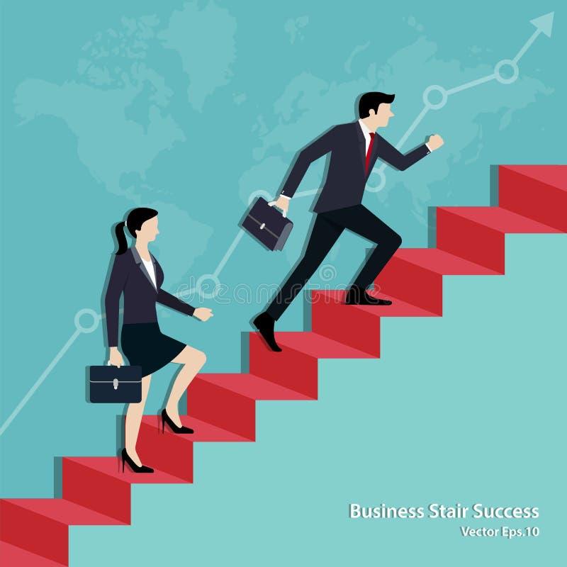 Commercieel team die op trap tot het doel lopen royalty-vrije illustratie