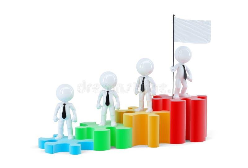 Commercieel team die zich op grafiekbars bevinden Geïsoleerde Bevat het knippen weg van scène en vlag vector illustratie